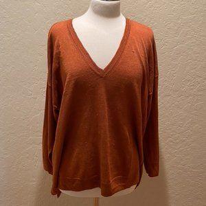 J Crew Linen blend rust v-neck sweater XL